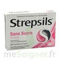 STREPSILS FRAISE SANS SUCRE, pastille édulcorée à l'isomalt, au maltitol et à la saccharine sodique à Béziers